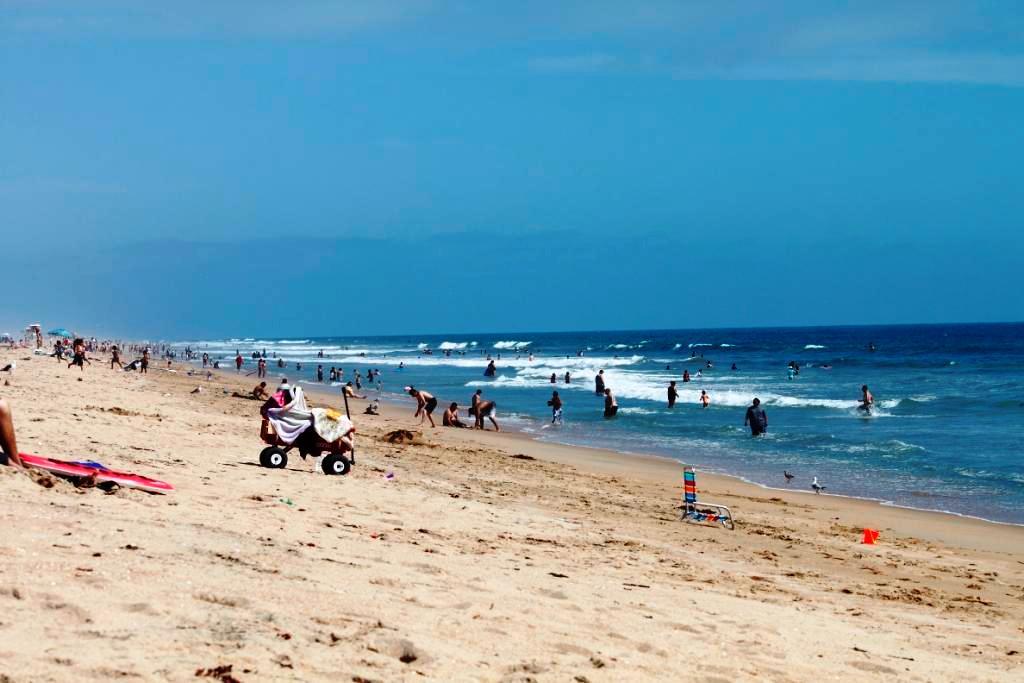 Bolsa Chica State Beach Park in Huntington Beach, California busy summer day