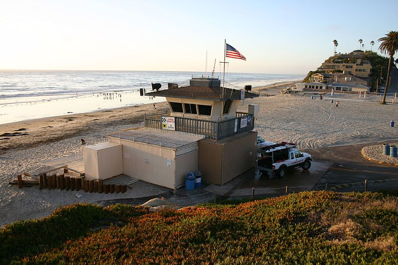Lifeguard station in Moonlight State Beach in Encinitas, California