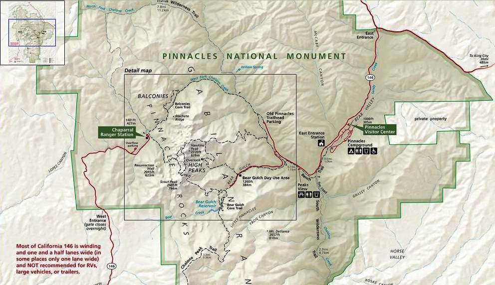 Pinnacles National Monument Map