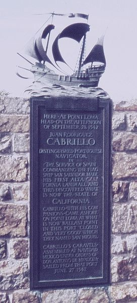 Plaque at Cabrillo National Monument
