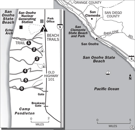 Bluffs Beach Trail map of San Onofre State Beach in Oceanside, California