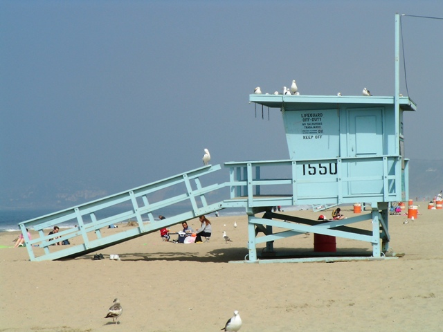 Life Guard station Santa Monica State Beach used in Baywatch Filming in Santa Monica, California