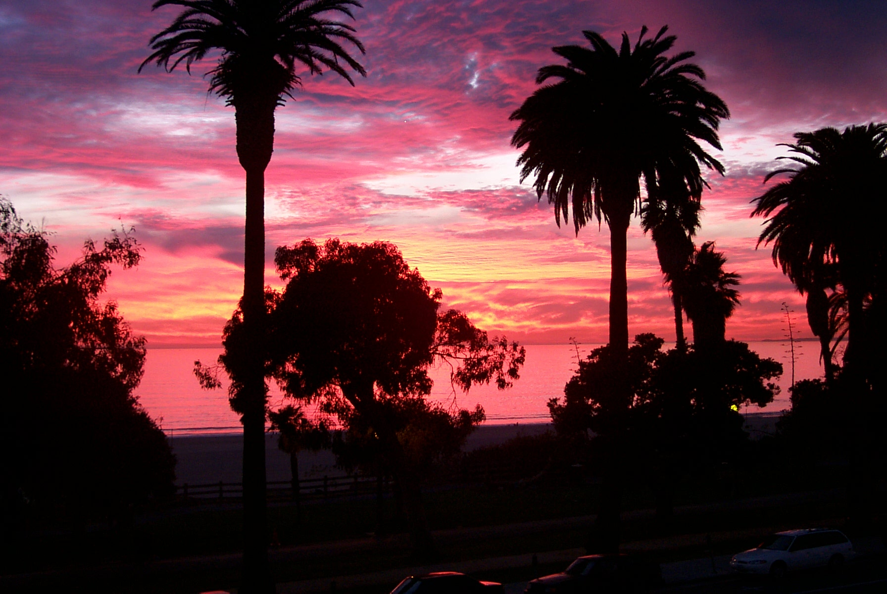 Sunset in Santa Monica State Beach in Santa Monica, California