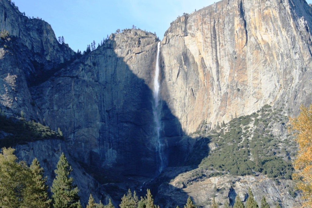 Close Up View of Water Fall in Yosemite Valley
