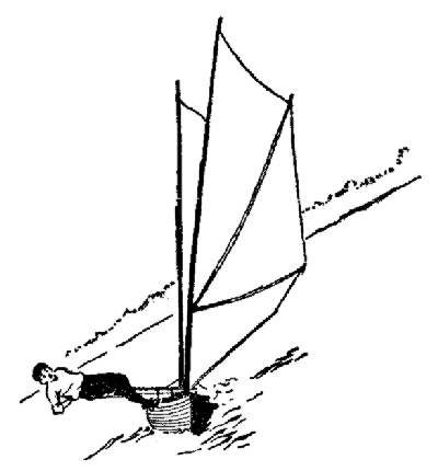 A sailing canoe in action