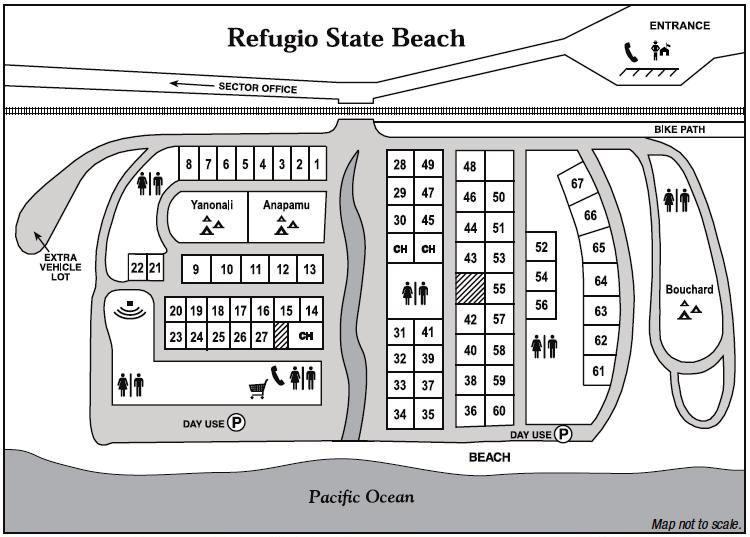 Campground Map Of Refugio State Beach In Goleta California